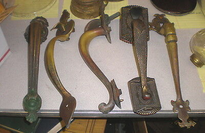 Lot of 5 Antique Brass Door Handles