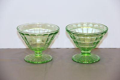 Two Green Block Optic Sherbert Cups - Hocking Glass Company