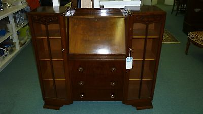 Antique English Side by Side Curio with Drop Front Secretary Desk
