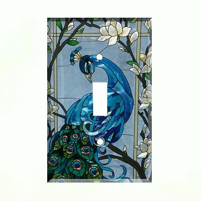 Blue Peacock Light Switch Cover Plate Wall Cover Peacock Decor
