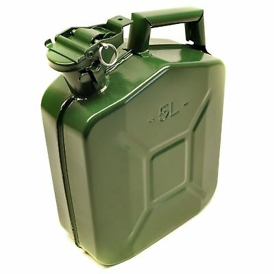 Metal Fuel Jerry Gerry Can Petrol Diesel Liquid Tank Army Green 5L Litre Sil22