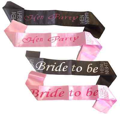 Girls Night Out Hen Party Sash Accessory Pink Black Sashes Bride Wedding