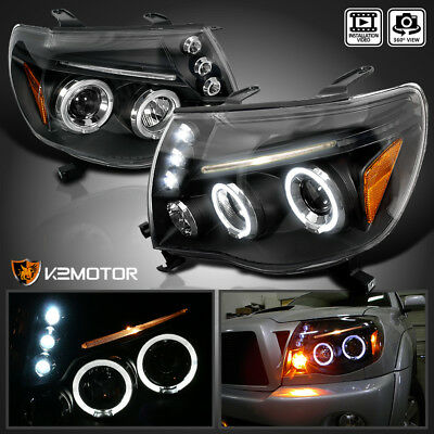 For 2005-2011 Toyota Tacoma LED Halo Projector Headlights Black Left+Right