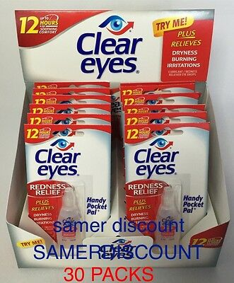 30 Packs Of Clear Eyes Drops Redness Relief 0.2 Oz.6 Ml Exp(2020)Up To 12 Hours
