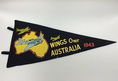 WWII 1943 US ARMY AIR FORCE Pennant Flag Wings Over Australia Delivering Goods