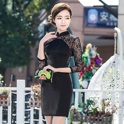 7/8 sleeve Chinese Cheongsam Cheong-Sam Qipao Lace Dress-Ship fast from IL USA