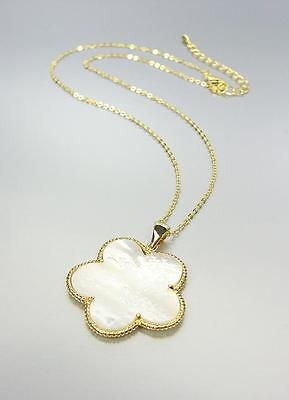 ELEGANT 18kt Gold Plated Mother of Pearl Shell CLOVER FLOWER Necklace