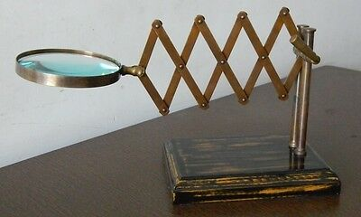 Vintage Style Brass Desk Top Chainner Magnifying Glass Wood Base