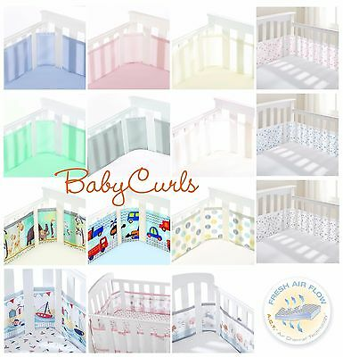 BreathableBaby 4-Sided Mesh Airflow Mesh Cot Bumper Liner *14 Designs Breathable