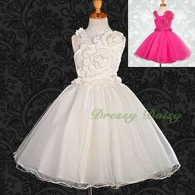 Pearls Flower Girl Dress Wedding Bridesmaid Flowergirl Party Size 3-8 172