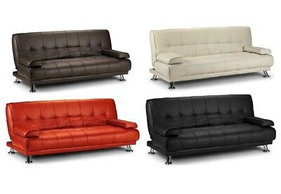 Luxury New Click Clack 3 Seater Faux Leather Designer Sofabed Chrome Legs Modern