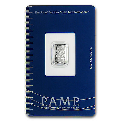 1 gram Pamp Suisse Platinum Bar In Assay - SKU #67344