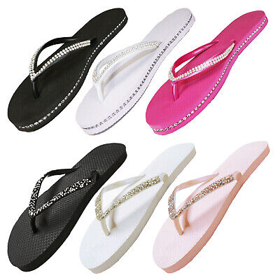 Ladies Womens Girls Diamante Chain Summer Holiday Flip Flops Sandals Flat Shoes