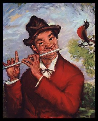 """Vintage 1940's """"in Tune"""" Old Flute Player And Robin Bird Duet Calendar Art Print"""