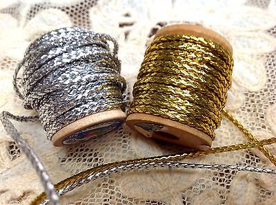 VINTAGE Antique FRENCH 1900's Gold Silver 3yds METALLIC & SPUN RAYON CORD 1/16""