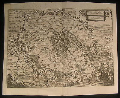 Maastricht Fortified Meuse River Netherlands 1655 antique Merian map