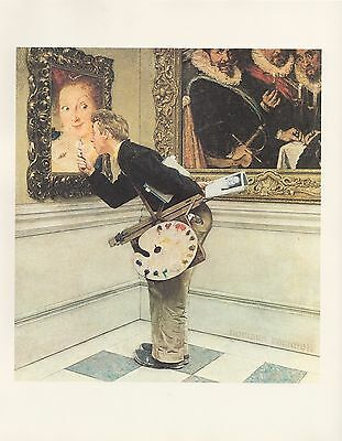 "1977 VINTAGE ""THE CRITIC"" by NORMAN ROCKWELL MINI POSTER COLOR Lithograph"