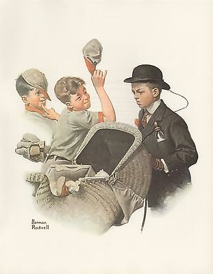 "1977 VINTAGE ""HOME DUTY"" by NORMAN ROCKWELL MINI POSTER COLOR Lithograph"