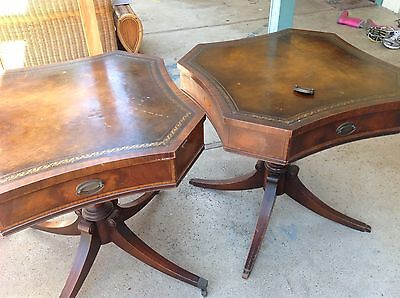 ANTIQUE WEIMAN HEIRLOOM INLAID MAHOGANY LAMP END TABLES CARVED BASE LEATHER TOP