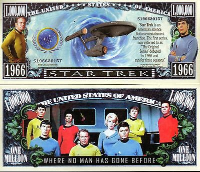 Star Trek TV Series Million Dollar Novelty Money