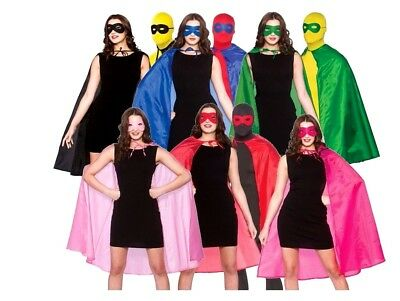 Adult SUPERHERO CAPE WITH MASK Hen Stag Party Fancy Dress Halloween Unisex