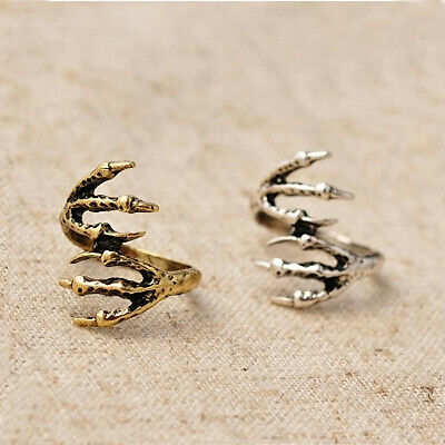 Women 15MM Vintage Dragon Eagle Claws Gothic Punk Rock Bronze Rings Jewelry