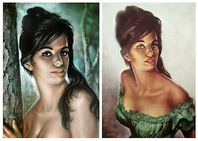 Pair of Tina Prints J H Lynch Tretchikoff Era - Vintage Kitsch Art Print Size A4