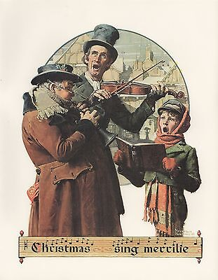 "1977 VINTAGE ""CHRISTMAS TRIO"" by NORMAN ROCKWELL MINI POSTER COLOR Lithograph"