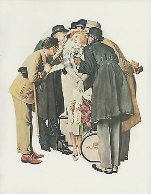 "1977 VINTAGE ""THE INTERVIEW"" HOLLYWOOD by NORMAN ROCKWELL MINI POSTER Lithograph"