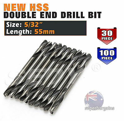 "30PC 100PC 5/32"" 4.0mm HSS DOUBLE ENDED DRILL BIT ALUMINIUM STEEL DRILLS"