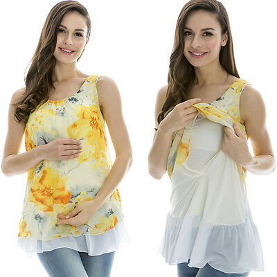 Maternity Breastfeeding Clothes Chiffon Summer Tees  Sleeveless Nursing Tops