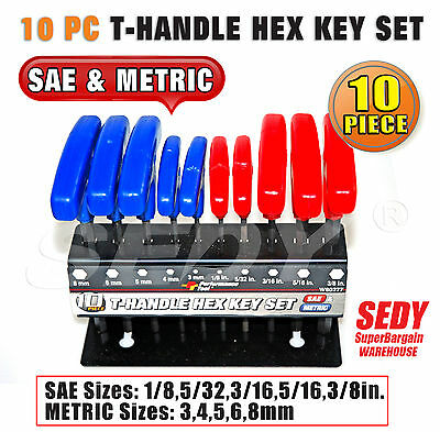10Pc T Handle Hex Key Set Metric And Sae Allen Wrench
