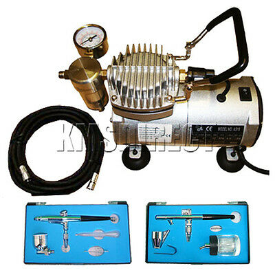 FoxHunter Top End Airbrush Compressor AS18 + Double Action Air Brush Kit New