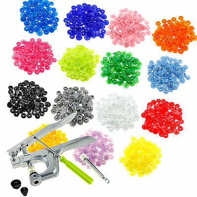 300Pcs Complete Plastic Kam Snaps Fasteners T5 Press Poppers+ Pliers Craft Sets