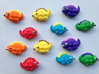 12 Edible Dinosaur Cake Decorations Cupcake Toppers Birthday Mix Colors