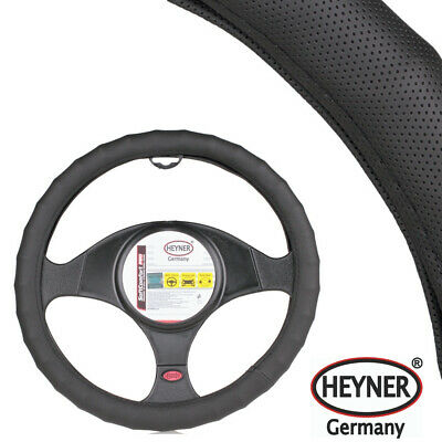 QUALITY CAR STEERING WHEEL COVER 37-39cm BLACK DOTTED DESIGN UNIVERSAL FIT