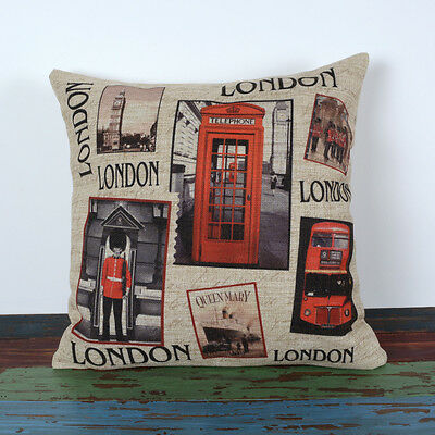 Vintage London Bus Big Ben Red Telephone Booth Throw Pillow Case Cushion Cover