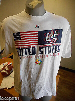 Mens Majestic World Baseball Classic '13 USA Shirt NWT L