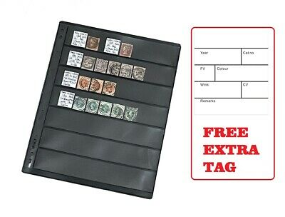 10 Stamp Stock Pages (7 Rows) Sheets w/ 9 Binder Holes - Black and Double Sided