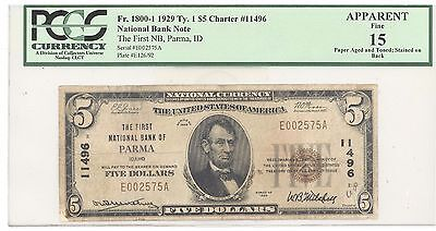 1929 $ 5 Type 1 The First National Bank of Parma, IDAHO PCGS 15 Fine F# 1800-1