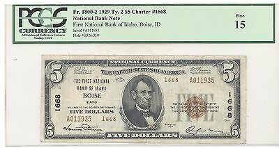 1929 $5 Type 2, The First National Bank of Idaho Boise, ID PCGS 15 Fine F 1800-2