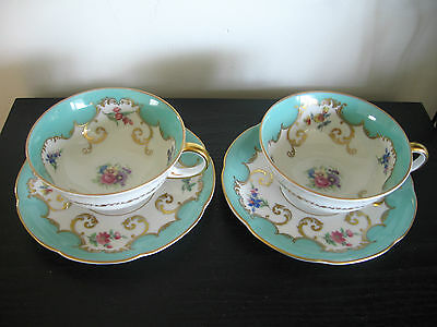 Royal Bayreuth Turquoise Gold Multi Floral Cup & Saucer - Set of 2