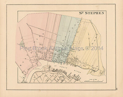 St. Stephen New Brunswick Antique Map Roe 1878 Original
