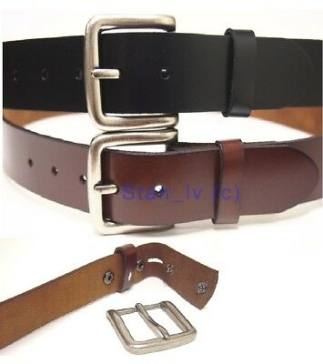 Black Brown Full Grain Pure Leather Belt Strap Snap On No Buckle Casual Dress