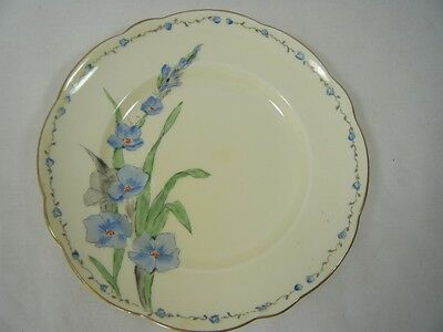 "Stunning Foley Handpainted Side Plate 6.25"" dia. Blue Red Flowers Green Fronds*"
