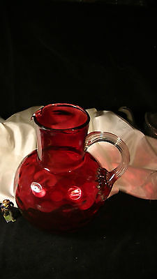 Old Dark Cranberry Glass Pitcher, Reverse Coin Dot Pattern, EAPG, Applied Handle