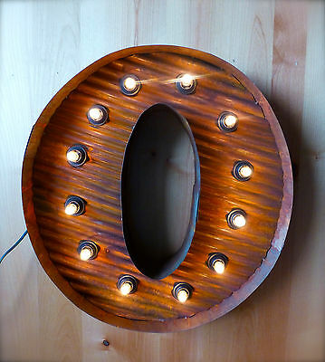 "LG BROWN VINTAGE STYLE LIGHT UP MARQUEE LETTER O, 24"" TALL novelty rustic sign"