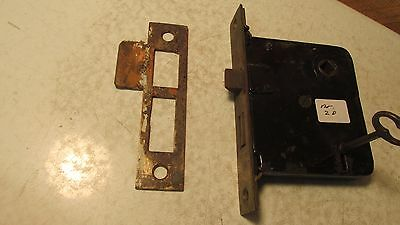 Antique Cast Iron Mortise Lock & Key  No. 20