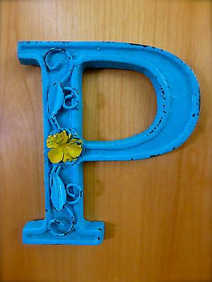 "BLUE CAST IRON WALL LETTER ""P"" 6.5"" TALL rustic vintage decor sign child nursery"
