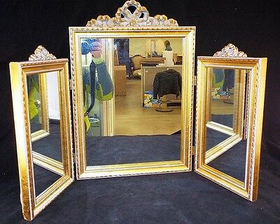 Trifold Mirror in Gilt Frame Lot 1095